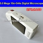 5.0 Mega 10X~544X Magnification Portable Digital USB Microscope with 2.7'' LCD