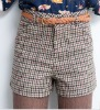 ei2010 British Style Vintage High Waist Women Houndstooth Wool Shorts With Belt