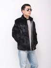 YR-228 Genuine stand collar rabbit fur jacket for men