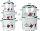 white color with printing enamelware cooking pot sets