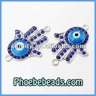 New Arrival Charm Connector Beads Wholesale Hamsa Hand Pave Crystal Rhinestone Glass Evil Eye For Bracelets Making MHB-013B