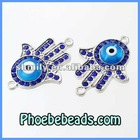 New Arrival Charm Connector Beads Wholesale Hamsa Hand Pave Crystal Rhinestone Glass Evil Eye For Bracelets Making MHB-013B