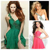 Lavish One Shoulder Chiffon Beading A-line White Green Fashionable Korean Cocktail Dress