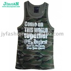 men's army green tank top
