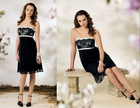 Strapless Short Chiffon Babydoll Style Dress with Empire Lace Bodice Elegant Knee Length Cocktail Dress