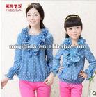 2012Autumn New korea design trendy woman and children high quality long sleeve shirt baby girl falbala dot blouses