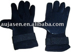 Skid-proof black neoprene gloves for diving
