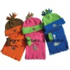 Kids polar fleece hat scarf gloves set