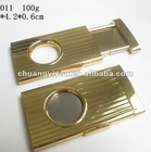 2012 hot sell promotional gift full stainless steel cigar cutter with gold-plating
