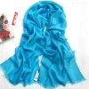 blue Newest Pretty solid design Cyan Graceful Fashion Polyester Scarves