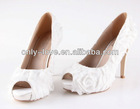BS596 high heel flowers peep toe bridal wedding shoes