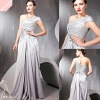 Silver One-Shoulder Rhinestone Silk Like Satin nice cocktal dess