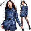Fur collar belted european winter coats women 86085