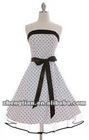 white polka rockabilly dress with petticoat
