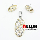 flower crystal pendant and earring