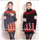 100% computer knitted long sleeve long lady cashmere sweater