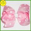 Dots ribbon bow barettes for girls / kids hair accessories (FB013408)