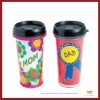 10oz double wall plastic cup with lids (BPA free)