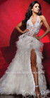 ET-142 Beaded Halter Backless White Lace Sexy prom Dresses With Feather