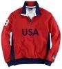 Men 1/4 zip Fleece Polo sweatshirt