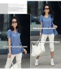 Summer casual two-piece suit V-neck lady T-shirt