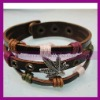 Real leather with Leaf Charm Bracelet