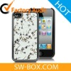 Plum Flower Patterned Electroplated Hard Case For iPhone 4S - Grey