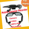 Free Shipping 4GB Sunglasses Eyewear camera Recorder with vedio+MP3+FM+Bluetooth