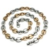 New style stainless steel bead necklace in rose&gold&silver