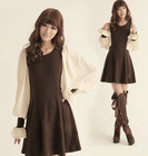 2012 to restore ancient ways lantern sleeve knit chiffon long dress