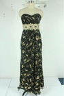 Fashional Golden Printed Fabric Beaded Evening Dresses