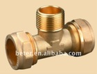 Brass Compression Tee Male Fitting For Copper Pipe