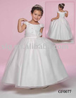 Scoop neck full A line of Imperial satin and Organza Flowergirl Dress