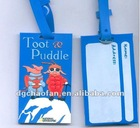 3D blue silicon luggage tag