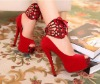 Women's Ankle Strap Pumps High Heels Lady Suede Platform Peep Toe Shoes with Removeable Strap