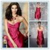 BD04 Fuchsia Silky Taffeta Sweetheart neckline Sleeveless Knee-length Bridesmaid dress