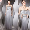 Newest Unique Strapless Silver extra Long Prom Dresses