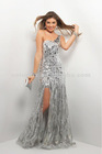 Sterling Sequin/glitter Hand Painted Tulle Huge Chunks of Stone Bust Flow into Side-slit Sexy One-shoulder Long Prom Gown