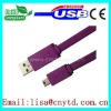 Unique design purple flat am to mini 5Pin flat Cable