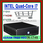 Free shipping 2012 latest slim server computer thin client server pc desktop server with INTEL Quad core i7 4G RAM 500G HDD