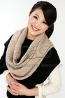 ladies 100%Cashmere knitted woman cable stitch scarf