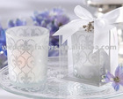 Fleur de Lis Glass Candle Holder
