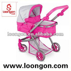 Loongon metal doll pram with soft handle bar doll carriage