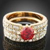 ARINNA J2925 2 in 1 Multi Austria crystal ruby Women Cocktail Ring 18K White Plated