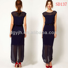 Ladies Jersey Fabric Chiffon Insert Dark Purple Fashionable Long Casual Dress 2013