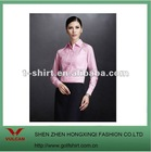100% cotton ladies business wear pink long sleeve uniform shirt
