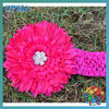 1.5'' hot pink crochet headband with daisy flower Christmas headbands for girls