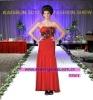 Sleeveless Beaded Bodice Chiffon Red Black Bridesmaid Dresses D-ST001