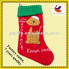 2012 lovely cat design style of velvet christmas stockings