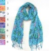 cotton printed scarves with fringes